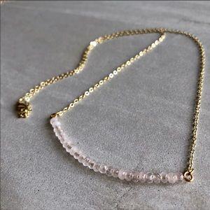 Jewelry - Handmade Crystal Bar, 14k Gold Boho Necklace